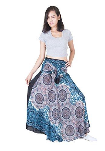 - Lofbaz Women's Long Bohemian Maxi Skirt Hippie Gypsy Boho Dress Design #1 White One Size