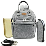 Baby Diaper Bag Backpack-20L Large Capacity Dustproof Waterproof Nappy Bag, Including Stroller Strap, Insulated Sleeve, Changing Mat (Grey)