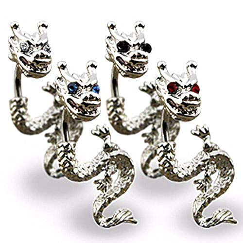 Freedom Fashion Dragon with Gemmed Eyes Navel Ring 316L Surgical Steel