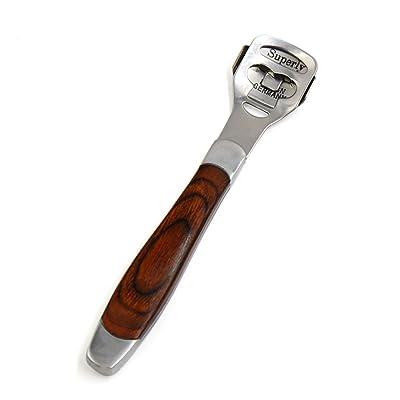 sourcingmap® Manija de madera del acero inoxidable escofina pie de la hoja del archivo depurador áspero removedor de callos
