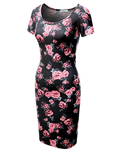 Made Sleeve amp; Awdmd0227 Plus Short USA Women rosenavy Midi Doublju Fitted in Size Printed Bodycon Dress Solid qRpxw7