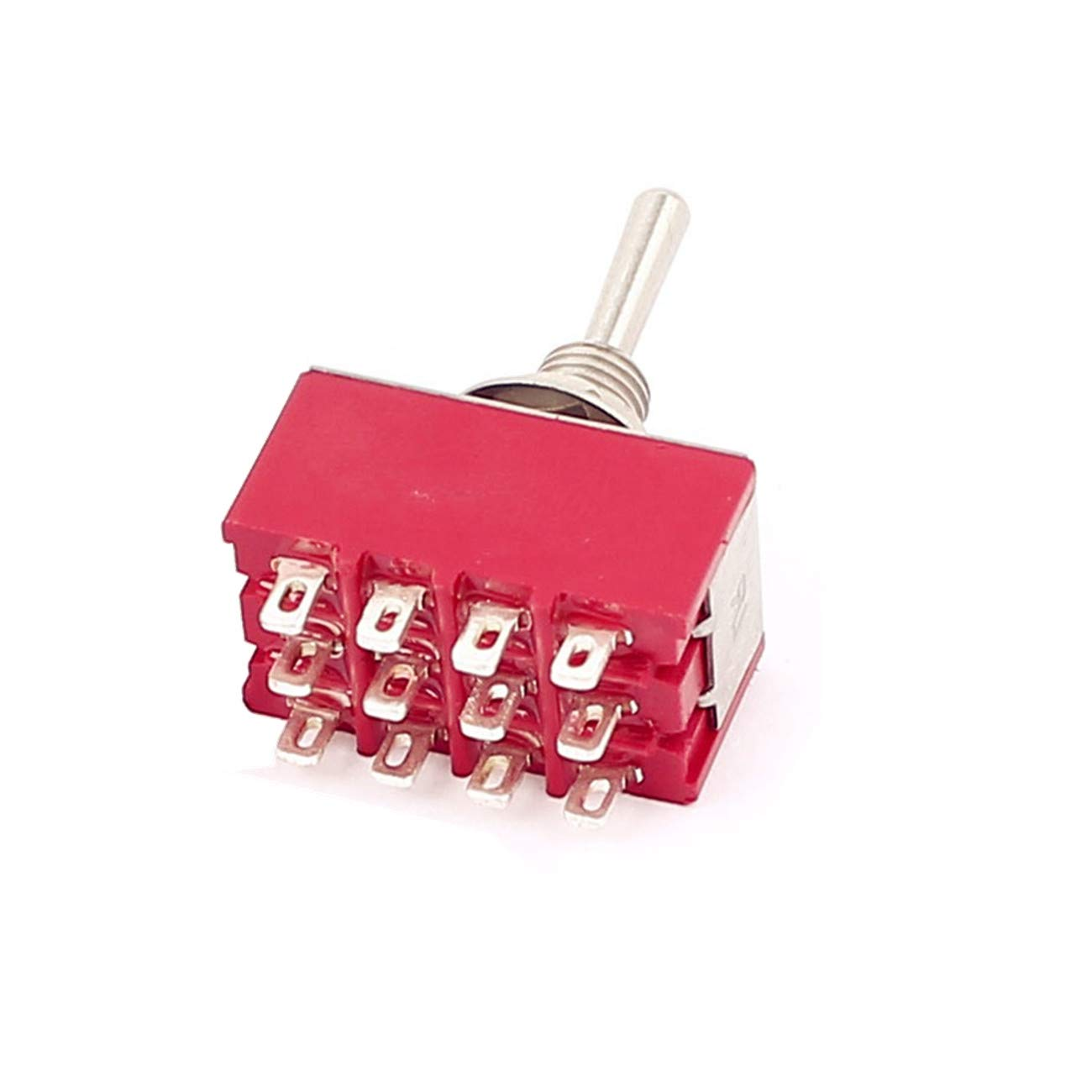 HLin 6A//125VAC 2A//250VAC 12 Pin 4PDT ON//ON 2 Position Mini MTS-402 Toggle Switch,Pack of 3