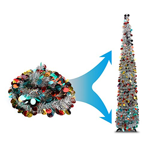 Joy-Leo 5 Foot Silver Multicolored Pop-up Collapsible Tinsel Pencil Indoor Christmas Tree with Shiny Sequins for Fireplace & Party & Office &Classroom, Beach Artificial Xmas Trees for Home Decoration
