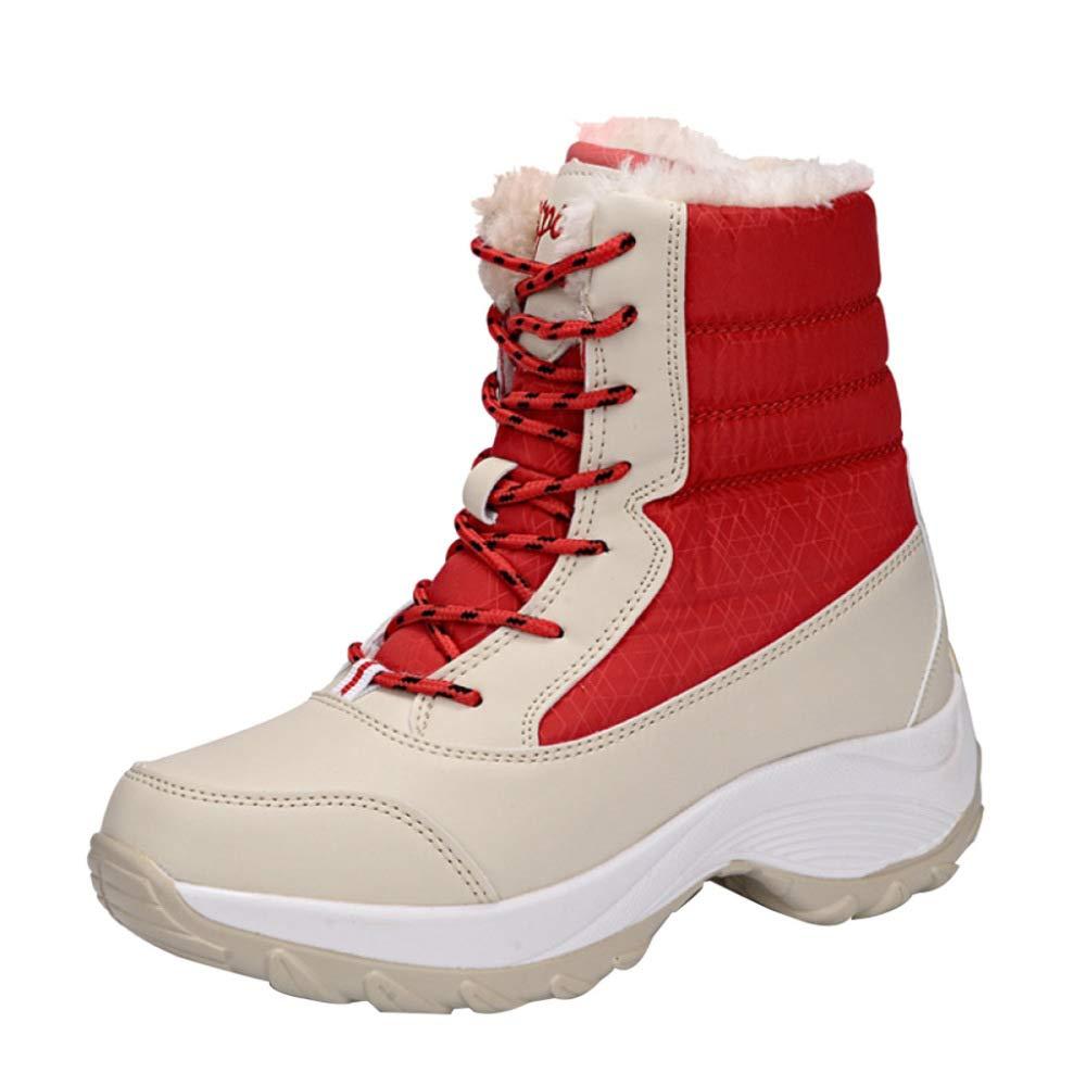 MISS LI Baumwollschuhdame Schneeschuhe Beiläufige Warme Tourismus-Schuhe Im Freien Pelz-gefütterter Knöchel Dick-gesohlter Wasserdichter Anti-Beleg
