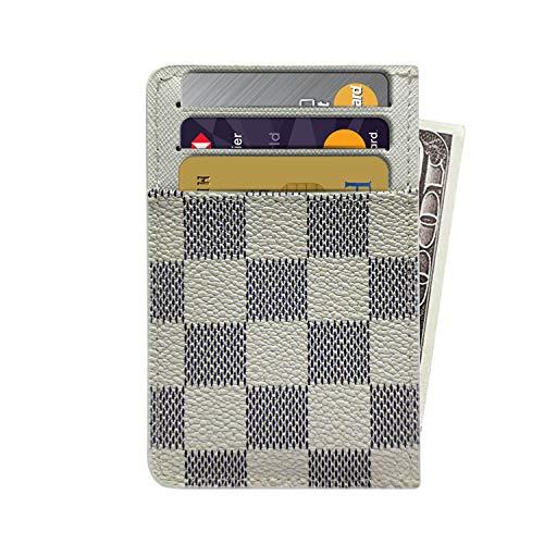 Slim RFID Credit Card Holder Minimalist Front Pocket Leather Wallet - White