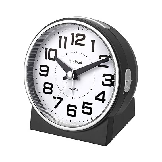 """Tinload 4"""" Silent Analog Alarm Clock Non Ticking, Gentle Wake, Beep Sounds, Increasing Volume, Battery Operated Snooze and Light Functions, Easy Set (Black) - Unique Simple Retro Styling-- Alarm clock stands up at an angle, high quality plastic, round face with white dial, black Arabic numerals, good decoration for tabletop, desk & shelf, bedrooms. Completely Silent-- Super quiet concise design alarm clock without annoying tick tock sound, ideal for those who need complete silence to fall asleep. Snooze and Light Function-- Snooze and light button locates on easy-to-find top place. Hold button down for 5 minutes snooze or to light up the clock face.The light will light up for 6 seconds and then shut down Automatically ,very easy to see time at night. - clocks, bedroom-decor, bedroom - 51o5zrWN2tL. SS570  -"""