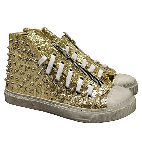O Hang - Zapatillas de Material Sintético para Mujer Dorado Dorado, Color Dorado, Talla 35.5: Amazon.es: Zapatos y complementos