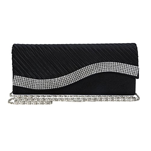 Black Pleated Wedding Evening Bag Satin Fashion Womens Purse Kaever Rhinestone Clutch HE7qvIwn