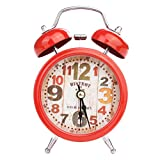 OTGO 1pc LED Twin Bell Alarm Clock Silent Metal Alarm Table Bedside Clock Decor,4.92×2.87×1.97in (Style1:Red)