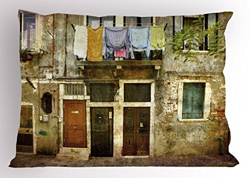 Ambesonne Venice Pillow Sham, Old Weathered Building Facade with Hanged Clothes Murano Island Grunge Architecture, Decorative Standard Queen Size Printed Pillowcase, 30