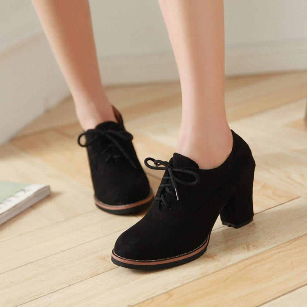 Amazon.com: Women Ankle Booties Lace up High Thick Square Chunky Heel Boots Round Toe Shoes by Lowprofile Black: Clothing