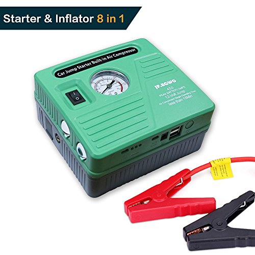Car Jump Starter Build with Air Compressor 8 in 1,450 Peak 120 PSI 13000 mAh Jump Pack,With 2 USB Ports and 2 LED flashlight by JF.EGWO, Special Sales for Mother's Day Gift