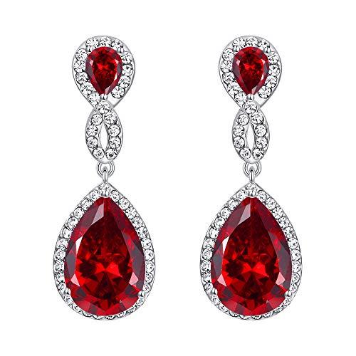 EVER FAITH Silver-Tone Austrian Crystal Zircon Wedding 8-Shaped Pierced Dangle Earrings Ruby Color ()