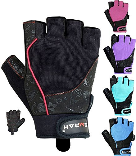 EMRAH Gym Weight Lifting Gloves Women Workout Fitness Ladies Bodybuilding Crossfit Breathable Powerlifting Wrist Support Strength Training Exercise (Black, M (Fits 6.88 - 7.36 Inches))