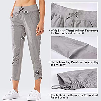 CRZ YOGA Women's Studio Joggers Striped Travel Lounge Pants Drawstring Leg 7/8 Workout Casual Track Pants with Pockets at Women's Clothing store