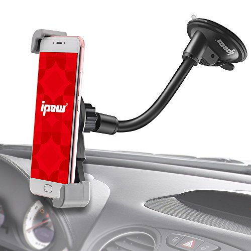 Super Wide Sight IPOW GPS Phone Mobile Holder for Car,See Entire Phone Screen in Different Angle,Suction Goose Arm Universal Car Dashboard/Window Phone Holder Fit iPhone X 8 8P 7 7P SE 6s 6 6P 5S (Telephone Windows)