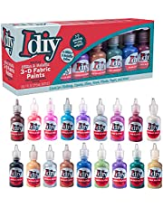 DIY Fabric Paints, Set of 16 Colors, (1oz bottles) 8 GLITTER & 8 METALLIC Colors - Ultra Bright 3D Fabric Paint, Non-Toxic Water-Based and Permanent - Great Craft, Gift, Project - Decorate on Anything