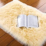 LOCHAS Silky Soft Faux Fur Sheepskin Rug 2'x3', Fluffy Bedside Rugs for Bedroom Thick Floor Wool Carpet, Machine Washable, Light Yellow