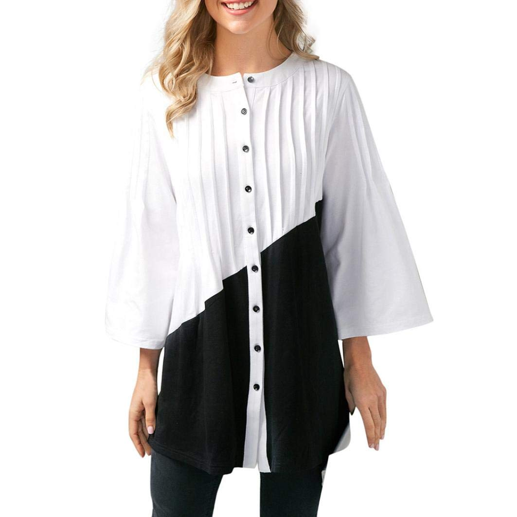 ManxiVoo Women's Color Blocking 3/4 Sleeve Blouse Shirt Casual Button Down Patchwork Pleated T-Shirt Top (M, Black)