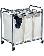 Mondex inx415-00 vagn tvättkorg med tre fack förkromad metall 46 x 78 x 84 cm