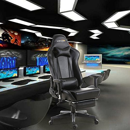 WENSIX Gaming Chair High Back Computer Chair With Adjusting Footrest, Ergonomic designs Extremely Durable PU Leather Steel Frame Racing Chair (Black) by WENSIX (Image #6)