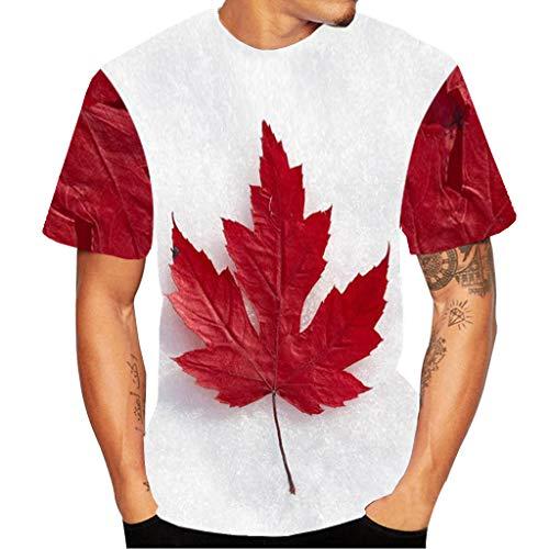 OWMEOT Unisex Casual 3D Print Flood Short Sleeve T-Shirt Graphic Tees (White, L)