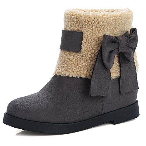 DoraTasia Women's Winter Suede Leather Flat Heel With Bowtie Snow Ankle Boots Grey ec8jR