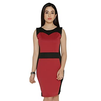 5ae68adddc Chimpaaanzee Women Sheath Maroon Dress Dresses available at Amazon for  Rs.599
