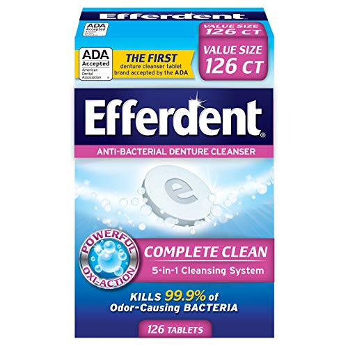 Cheap Efferdent Anti-Bacterial Denture Cleanser | 5-in-1 Cleansing System | 126 Count (Pack of 1) denture cleaner