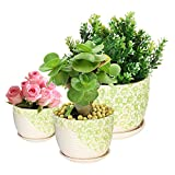 Set of 3 Green & White Flower Design Nesting Ceramic Planter Pots / Plant Containers w/ Attached Saucers