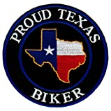 Proud Texas Biker Embroidered Patch Lone Star State Flag Iron-On Motorcycle Emblem
