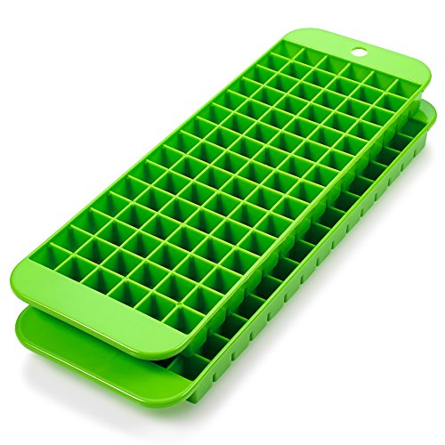 Mini Ice Cube Trays - 2 Pack - 90 Square Shaped Molds - BPA Free, Food-Grade Material - Dishwasher Safe - Stackable & Odor Free - Does Not Crack While Freezing - Green