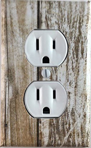 Whitewash Rustic Wood Design Decorative Outlet Wall Plate - Rustic Light Switch Covers