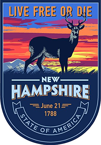 State animal New Hampshire night 4x5.5 inches sticker decal die cut vinyl - Made and Shipped in USA