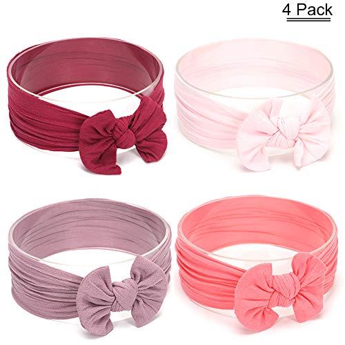 YASSUN Baby Headband/Nylon Turban - Girl Hair Accessories Bow Nylon Hair Strap - Multi-Color Children's Elastic Knotted Headband (4Piece Set) Purple Gray/Light Pink/Grape Purple/Watermelon Red ()