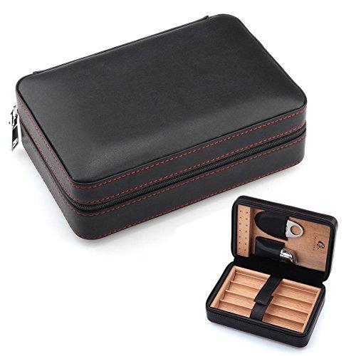 GALINER Cigar Humidor, Cigar Case, Leather Spainish Cedar Wood Cigar Travel Case Necessary Combos with Cigar Lighter Cigar Cutter Punch Humidifier (Black)