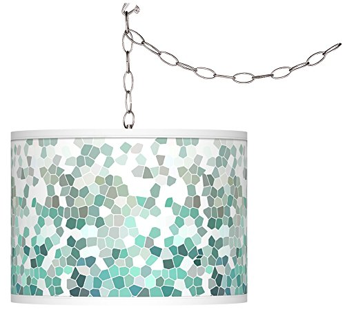 Aqua Mosaic Giclee Glow Plug-in Swag (Spider Ceiling Drapes)