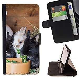 King Air - Premium PU Leather Wallet Case with Card Slots, Cash Compartment and Detachable Wrist Strap FOR LG OPTIMUS L90- Rabbit Cute