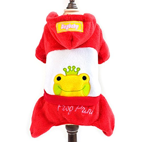 SMALLLEE_LUCKY_STORE Frog Prince Warm Coral Fleece Pajamas Small Dog Pet Hooded Costume, XX-Large, Red