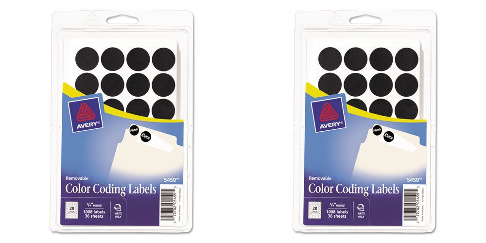 Avery Self-Adhesive Removable Labels, 0.75 Inch Diameter, Black, 1,008 per Pack (05459), 2 Packs