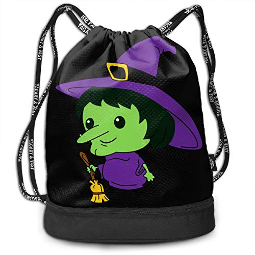 Bulk Drawstring Backpack, Lightweight Gym Sport Bundled Bag Wet Dry Separated Yoga String Cinch Tote Bag Multipurpose Casual Bag For Adult Kids - Evil Witch Ghost]()