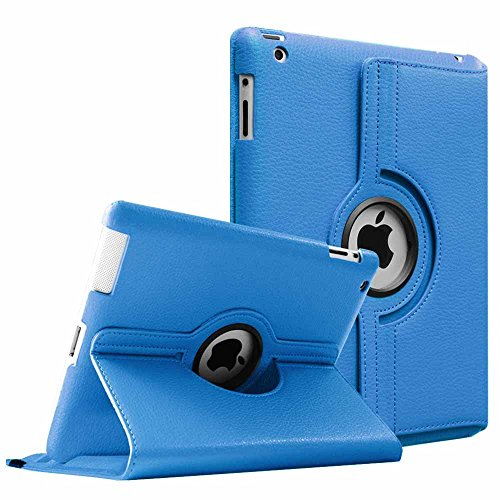 Fintie Rotating Case for iPad 4 3 2 (Old Model) - 360 Degree Rotating Smart Stand Protective Cover with Auto Wake/Sleep for iPad 4th Gen with Retina Display, iPad 3 & iPad 2, Blue
