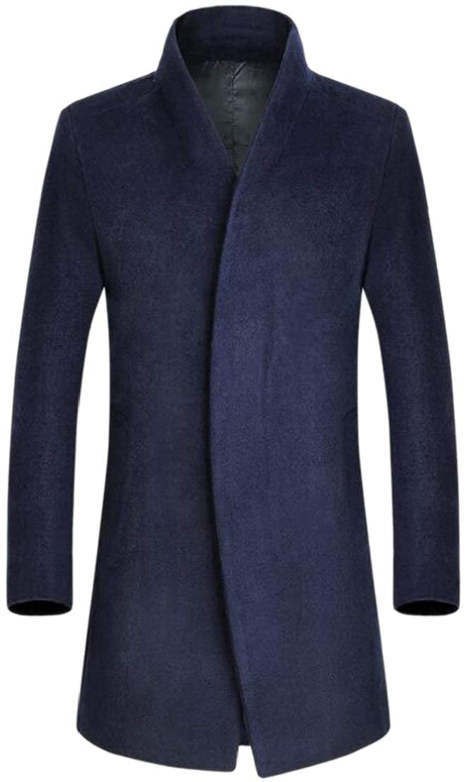 Navy bluee GenericMen Wrap Pure color Blazer Wool Blend Outwear Business Pea Coat