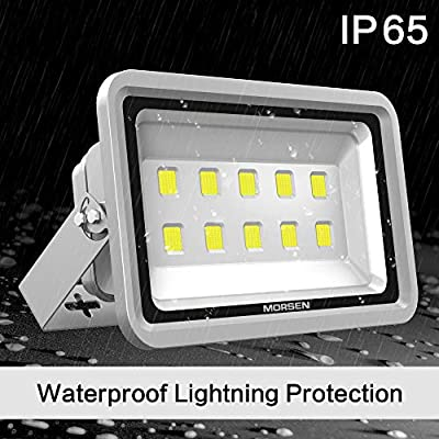 Morsen LED Flood Light 500W IP65 Waterproof Super Bright Sercurity Light for Indoor Outdoor Lighting Daylight Light 6000K for Parking Lot, Garden, Basketball Football Court and Commercial Lighting