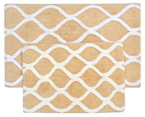(Value Homezz ( 2 Piece Bathmat Set ) Lattice design 100% Super Soft Cotton Tufted Accent Bath Rugs Size 21 x 34 / 17 x 24 Non Skid High Absorbency & Durable Machine washable Bath Mat (Butter & White))