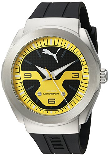 PUMA Quartz Stainless Steel and Polyurethane Watch, Color:Black (Model: PU103931003)