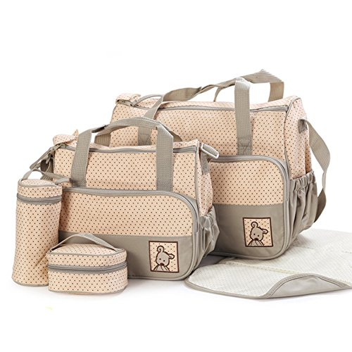 Price comparison product image Moolecole 7 in 1 Mommy Tote Bag Travel Bag Diaper Bag Set (Khaki)
