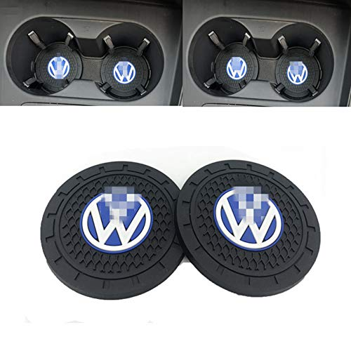 (Ldntly 2.75 Inch Diameter Car Cup Holder Coasters,Oval Tough Car Logo Vehicle Travel Auto Cup Logo Heavy Duty Rubber Coaster 2 pcs Set,Car Cup Holder Compatible with V olkswagen)