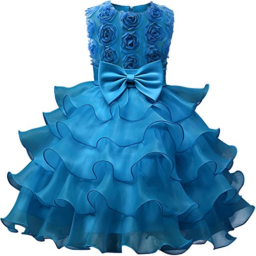 NNJXD Girl Dress Kids Ruffles Lace Party Wedding Dresses Size (150) 7-8 Years Flower Blue ()