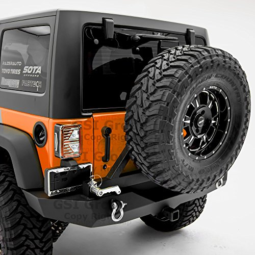 l Width Rear Bumper with Swing Away Tire Carrier Textured for 07-18 Jeep Wrangler JK ()